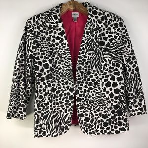 Chicos Black & White Zebra Cheetah Jacket Blazer 2